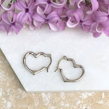 Load image into Gallery viewer, 10KT White Gold Open Heart Design Hoop Earrings, 10KT White Gold Open Heart Design Hoop Earrings - Legacy Saint Jewelry
