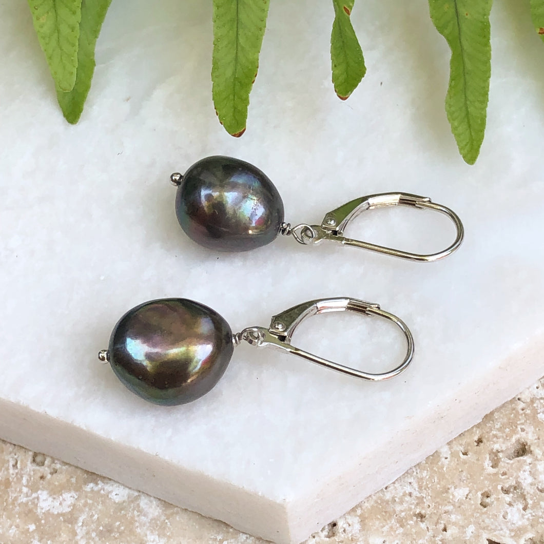 Sterling Silver Black Freshwater Baroque Pearl Leverback Earrings, Sterling Silver Black Freshwater Baroque Pearl Leverback Earrings - Legacy Saint Jewelry