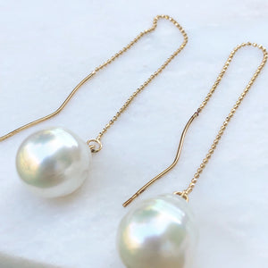 14KT Yellow Gold Paspaley Pearl Threader Ball Chain Earrings, 14KT Yellow Gold Paspaley Pearl Threader Ball Chain Earrings - Legacy Saint Jewelry