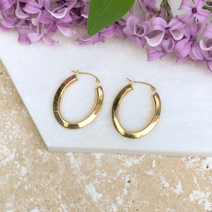 14KT Yellow Gold Oval Beveled Hoop Earrings, 14KT Yellow Gold Oval Beveled Hoop Earrings - Legacy Saint Jewelry