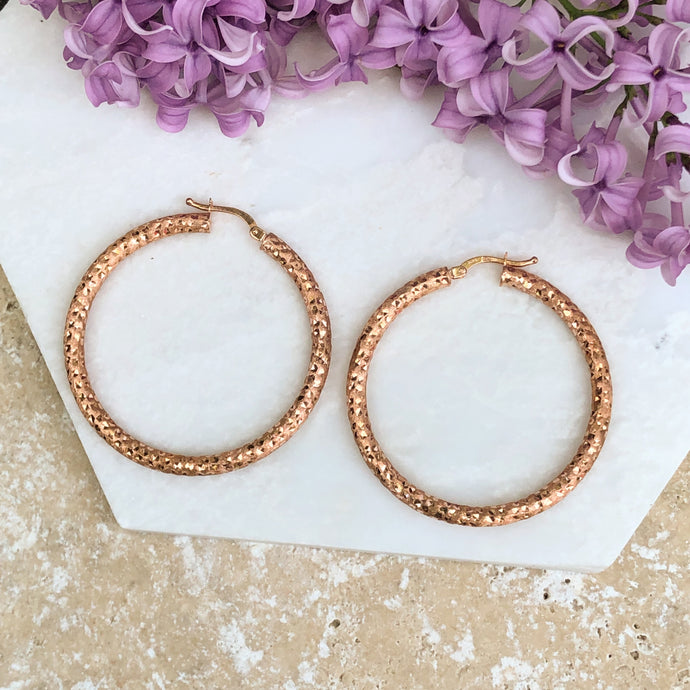 14KT Rose Gold Satin + Diamond Cut Finished Hoop Earrings, 14KT Rose Gold Satin + Diamond Cut Finished Hoop Earrings - Legacy Saint Jewelry