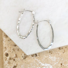 Load image into Gallery viewer, Sterling Silver Hammered Oval Hoop Earrings 11mm, Sterling Silver Hammered Oval Hoop Earrings 11mm - Legacy Saint Jewelry