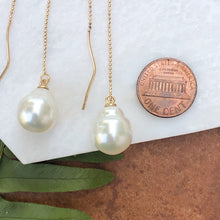 Load image into Gallery viewer, 14KT Yellow Gold Paspaley Pearl Threader Ball Chain Earrings, 14KT Yellow Gold Paspaley Pearl Threader Ball Chain Earrings - Legacy Saint Jewelry