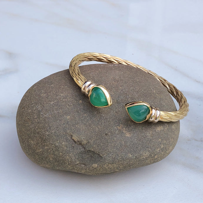 Estate 14KT Yellow Gold + White Gold Green Onyx End Caps Cuff Bangle Bracelet - Legacy Saint Jewelry