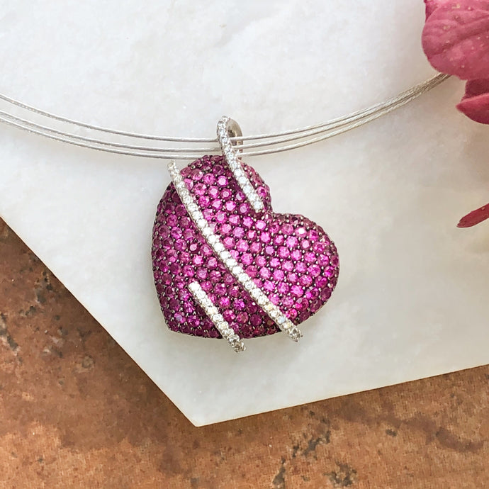 14KT White Gold Pave Pink Sapphire + Diamond Heart Pendant Slide, 14KT White Gold Pave Pink Sapphire + Diamond Heart Pendant Slide - Legacy Saint Jewelry