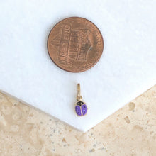 Load image into Gallery viewer, 14KT Yellow Gold Purple Mini Ladybug Pendant Charm, 14KT Yellow Gold Purple Mini Ladybug Pendant Charm - Legacy Saint Jewelry