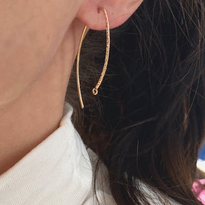 14KT Yellow Gold-Filled Textured Marquise Ear Wire w/ Closed Ring Earrings, 14KT Yellow Gold-Filled Textured Marquise Ear Wire w/ Closed Ring Earrings - Legacy Saint Jewelry