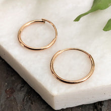Load image into Gallery viewer, 14KT Rose Gold Thin 1.5mm Endless Hoop Earrings 14mm, 14KT Rose Gold Thin 1.5mm Endless Hoop Earrings 14mm - Legacy Saint Jewelry