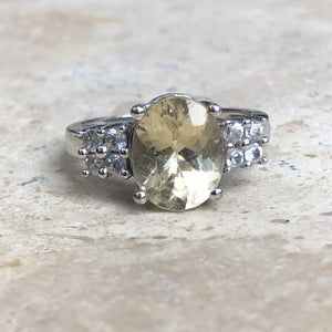 Estate 10KT White Gold Yellow Oval Stone + CZ Ring Size 6, Estate 10KT White Gold Yellow Oval Stone + CZ Ring Size 6 - Legacy Saint Jewelry