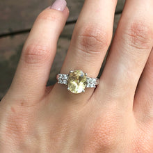 Load image into Gallery viewer, Estate 10KT White Gold Yellow Oval Stone + CZ Ring Size 6, Estate 10KT White Gold Yellow Oval Stone + CZ Ring Size 6 - Legacy Saint Jewelry