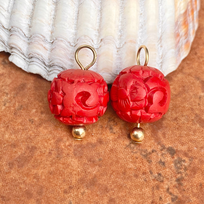 Estate 14KT Yellow Gold Red Carved Cinnabar Ball Earring Charms