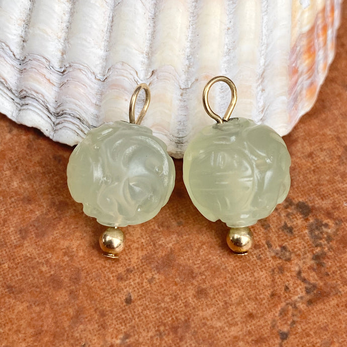 Estate 14KT Yellow Gold Pale Green Carved Celadon Jade Ball Earring Charms