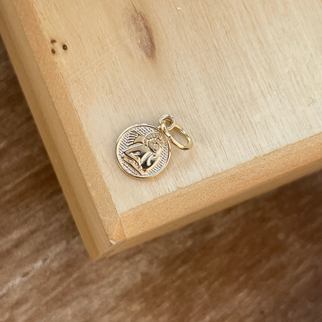 10KT Yellow Gold Mini Angel Medal Pendant Charm