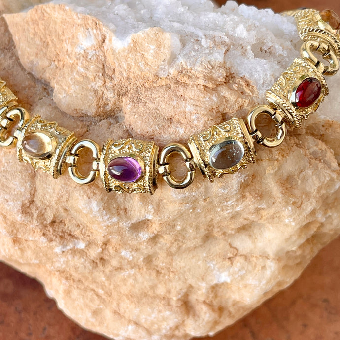 Estate 14KT Yellow Gold Byzantine Multi Gemstone Rectangle Link Bracelet