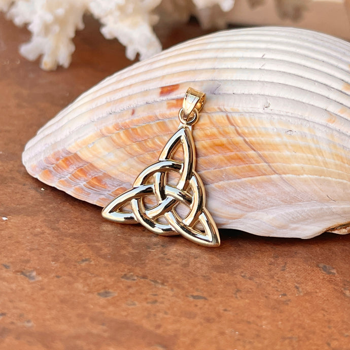 10KT Yellow Gold Celtic Trinity Eternity Knot Pendant 30mm