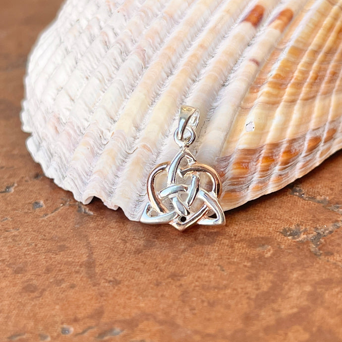 Sterling Silver Celtic Trinity Knot + Rose Tone Heart Pendant Charm