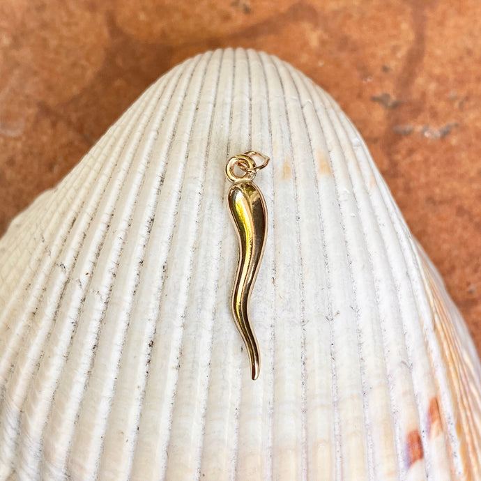 14KT Yellow Gold-Filled 3D Corno Italian Horn Pendant 25mm