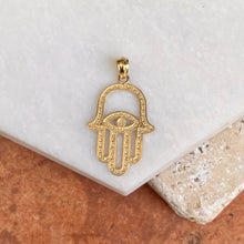 "Load image into Gallery viewer, 14KT Yellow Gold Two-Tone""Hand of Fatima""  Hamsa Chamseh Evil Eye Pendant, 14KT Yellow Gold Two-Tone""Hand of Fatima""  Hamsa Chamseh Evil Eye Pendant - Legacy Saint Jewelry"