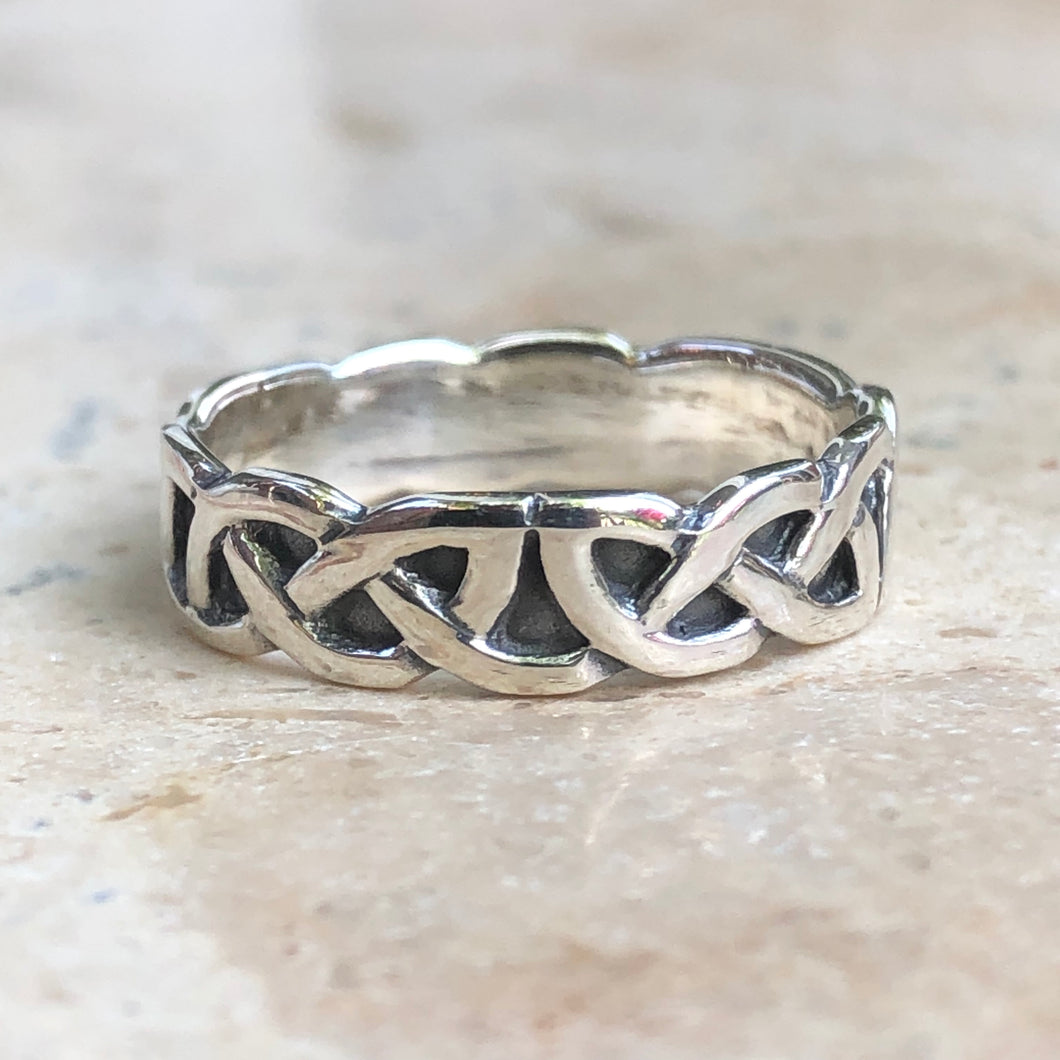 Sterling Silver Celtic Antiqued Weave Ring Size 7, Sterling Silver Celtic Antiqued Weave Ring Size 7 - Legacy Saint Jewelry