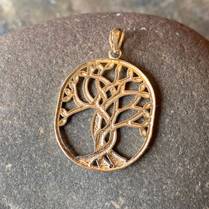 "14KT Yellow Gold Polished Celtic ""Tree of Life"" Oval Pendant, 14KT Yellow Gold Polished Celtic ""Tree of Life"" Oval Pendant - Legacy Saint Jewelry"