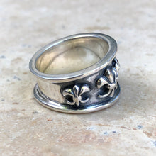 Load image into Gallery viewer, Sterling Silver Antiqued Fleur de Lis Ring Size 9, Sterling Silver Antiqued Fleur de Lis Ring Size 9 - Legacy Saint Jewelry