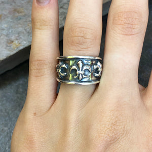 Sterling Silver Antiqued Fleur de Lis Ring Size 9, Sterling Silver Antiqued Fleur de Lis Ring Size 9 - Legacy Saint Jewelry