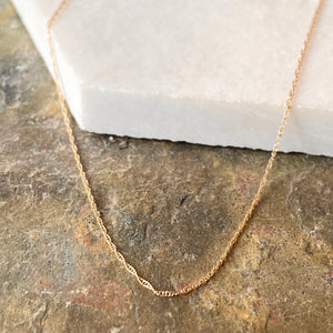10KT Yellow Gold Thin Rope Chain Necklace .50mm - Legacy Saint Jewelry