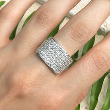 Load image into Gallery viewer, Sterling Silver 8-Row CZ Tapered Ring, Sterling Silver 8-Row CZ Tapered Ring - Legacy Saint Jewelry