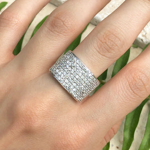 Sterling Silver 8-Row CZ Tapered Ring, Sterling Silver 8-Row CZ Tapered Ring - Legacy Saint Jewelry