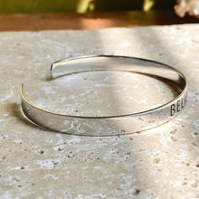 "Load image into Gallery viewer, Sterling Silver Polished ""Believe"" Script Open Cuff Bangle Bracelet, Sterling Silver Polished ""Believe"" Script Open Cuff Bangle Bracelet - Legacy Saint Jewelry"