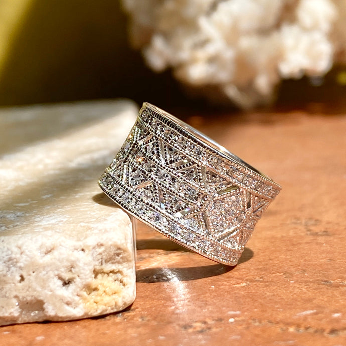 Sterling Silver Micro-Pave CZ Vintage-Inspired Cigar Band Ring, Sterling Silver Micro-Pave CZ Vintage-Inspired Cigar Band Ring - Legacy Saint Jewelry