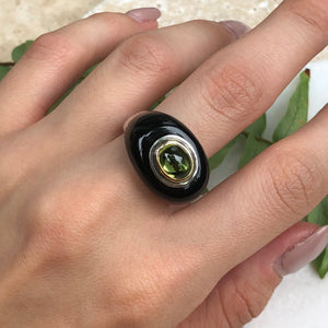 Sterling Silver + 18KT Yellow Gold Black Onyx + Peridot Dome Ring Size 9, Sterling Silver + 18KT Yellow Gold Black Onyx + Peridot Dome Ring Size 9 - Legacy Saint Jewelry