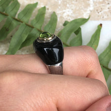 Load image into Gallery viewer, Sterling Silver + 18KT Yellow Gold Black Onyx + Peridot Dome Ring Size 9, Sterling Silver + 18KT Yellow Gold Black Onyx + Peridot Dome Ring Size 9 - Legacy Saint Jewelry