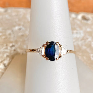 Estate 14KT Yellow Gold Oval Sapphire + Trillion Diamond Accent Ring, Estate 14KT Yellow Gold Oval Sapphire + Trillion Diamond Accent Ring - Legacy Saint Jewelry