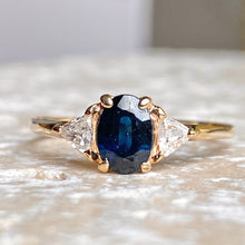 Load image into Gallery viewer, Estate 14KT Yellow Gold Oval Sapphire + Trillion Diamond Accent Ring, Estate 14KT Yellow Gold Oval Sapphire + Trillion Diamond Accent Ring - Legacy Saint Jewelry