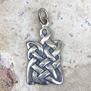 Sterling Silver Antiqued Rectangle Celtic Pendant Charm, Sterling Silver Antiqued Rectangle Celtic Pendant Charm - Legacy Saint Jewelry
