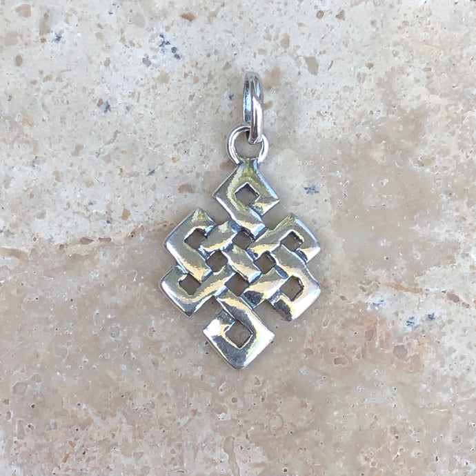 Sterling Silver Polished Square Celtic Knot Pendant Charm, Sterling Silver Polished Square Celtic Knot Pendant Charm - Legacy Saint Jewelry