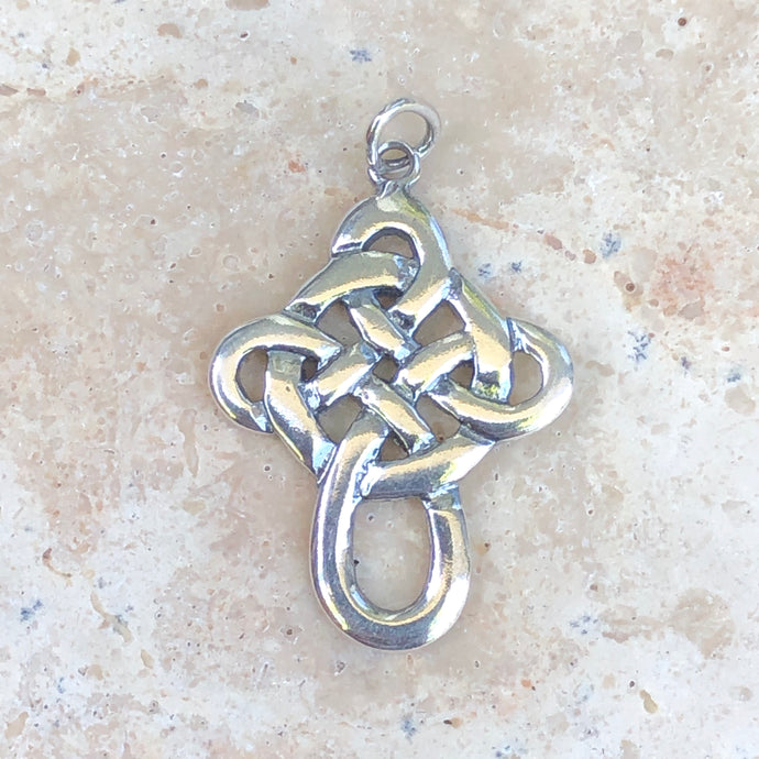 Sterling Silver Celtic Knot Cross Pendant Charm, Sterling Silver Celtic Knot Cross Pendant Charm - Legacy Saint Jewelry