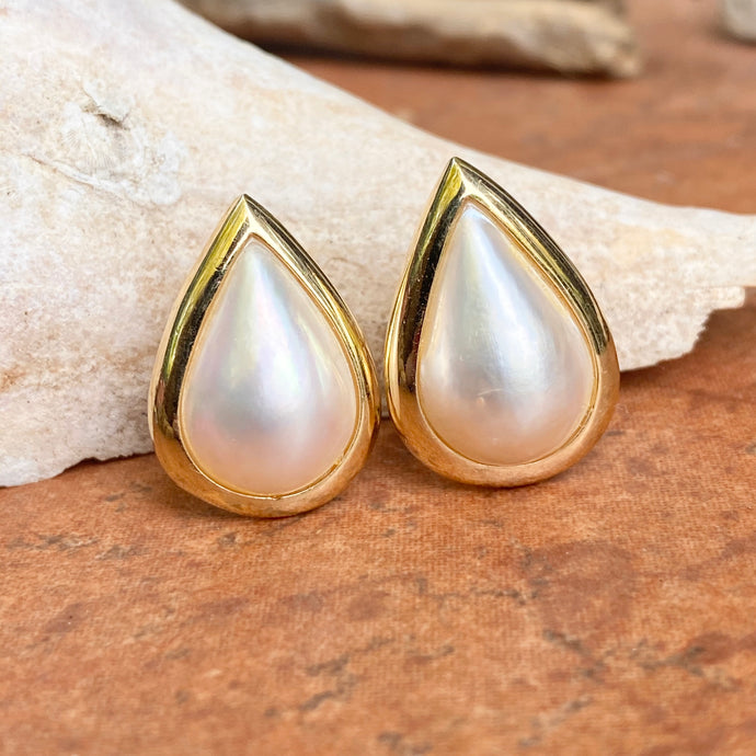 Estate 14KT Yellow Gold Mabe Blister Pearl Teardrop Omega Back Earrings