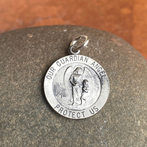 "Sterling Silver Antiqued ""Our Guardian Angel Protect Us"" Round Medal Pendant 25mm, Sterling Silver Antiqued ""Our Guardian Angel Protect Us"" Round Medal Pendant 25mm - Legacy Saint Jewelry"
