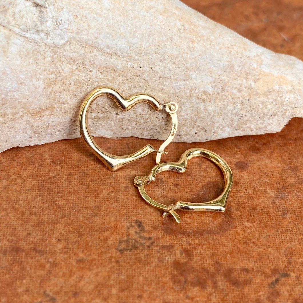 10KT Yellow Gold Small Open Heart Hoop Earrings 16mm