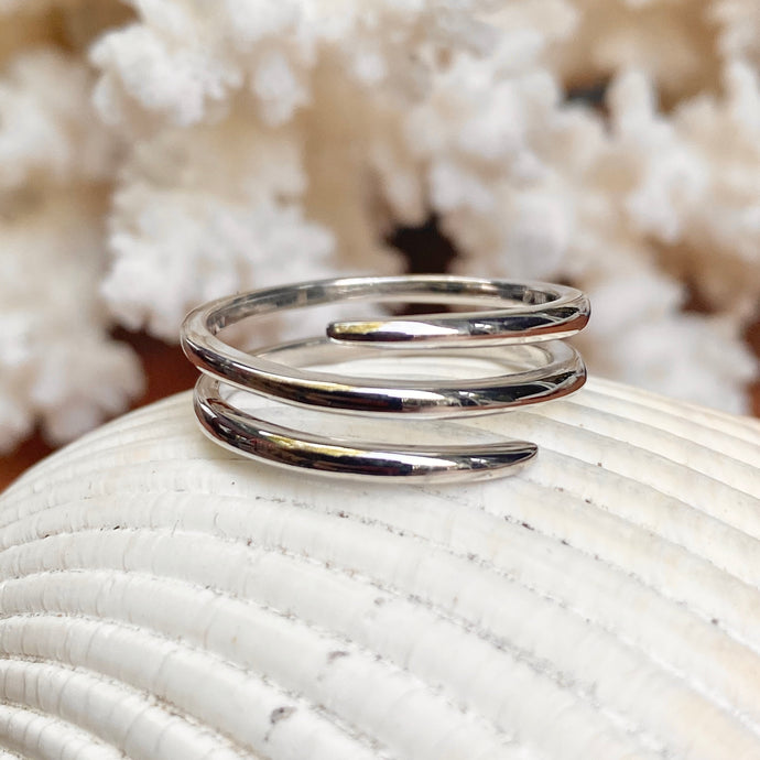 Sterling Silver Polished Bypass Design Ring