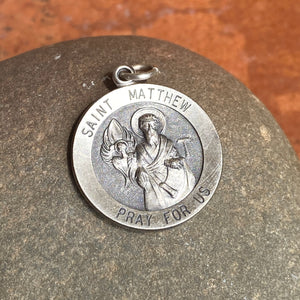 Sterling Silver Antiqued Saint Matthew Round Medal Pendant 31mm, Sterling Silver Antiqued Saint Matthew Round Medal Pendant 31mm - Legacy Saint Jewelry