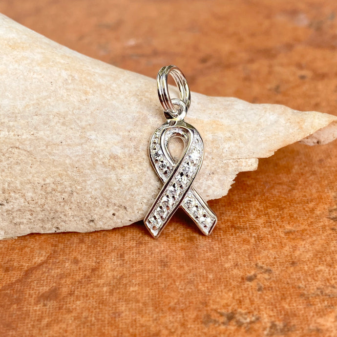 Sterling Silver CZ Breast Cancer Awareness Ribbon Pendant Charm