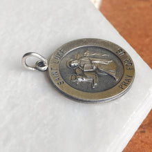Load image into Gallery viewer, Sterling Silver Antiqued Saint Luke Large Round Medal Pendant Charm, Sterling Silver Antiqued Saint Luke Large Round Medal Pendant Charm - Legacy Saint Jewelry