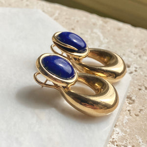 Estate 14KT Yellow Gold Oval Genuine Lapis Omega Back Earrings, Estate 14KT Yellow Gold Oval Genuine Lapis Omega Back Earrings - Legacy Saint Jewelry