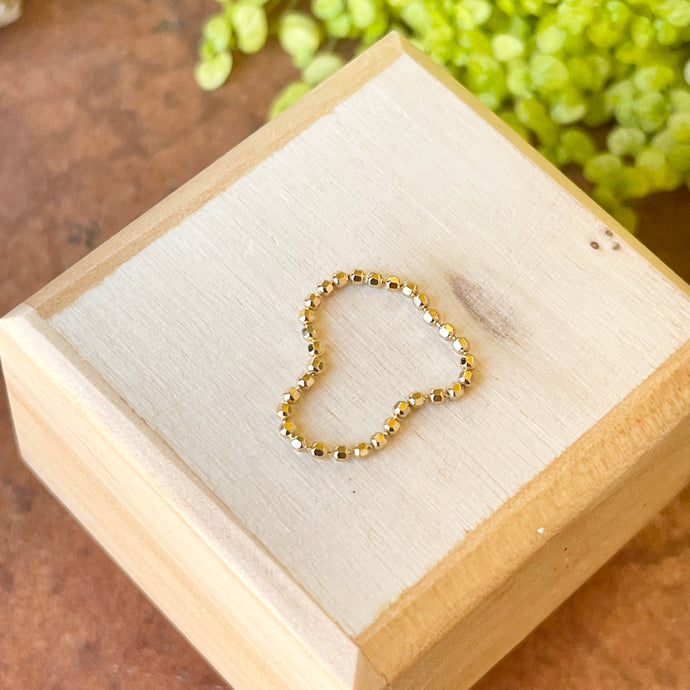 14KT Yellow Gold Diamond-Cut Beaded Flexible Ring