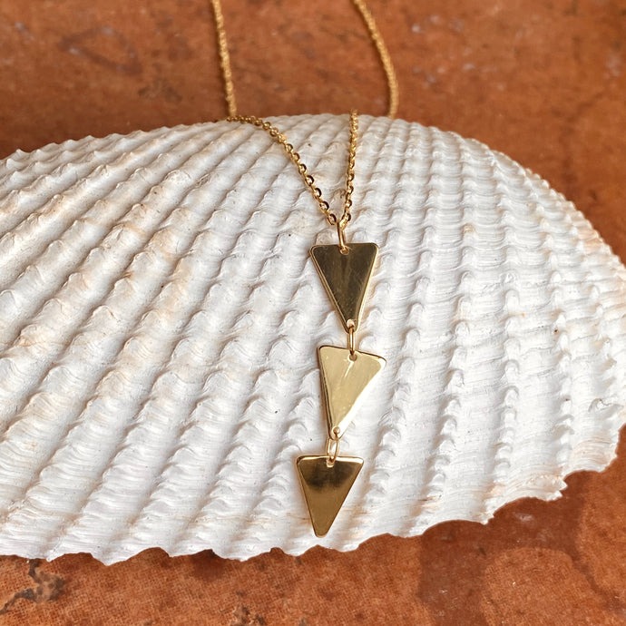 14KT Yellow Gold Geometric Triangles Lariat Chain Necklace, 14KT Yellow Gold Geometric Triangles Lariat Chain Necklace - Legacy Saint Jewelry