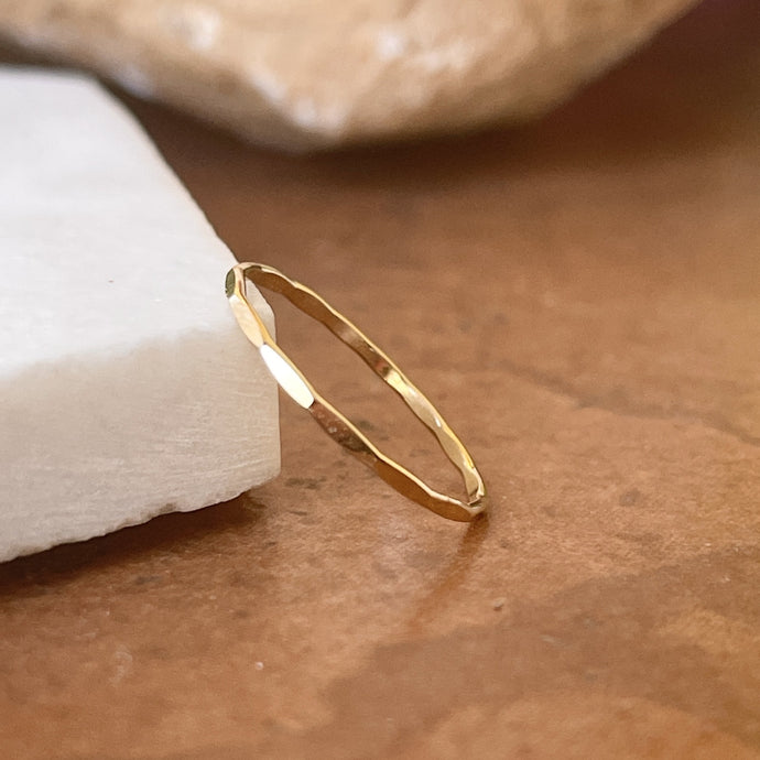 14KT Yellow Gold Faceted Thin Stacking Ring