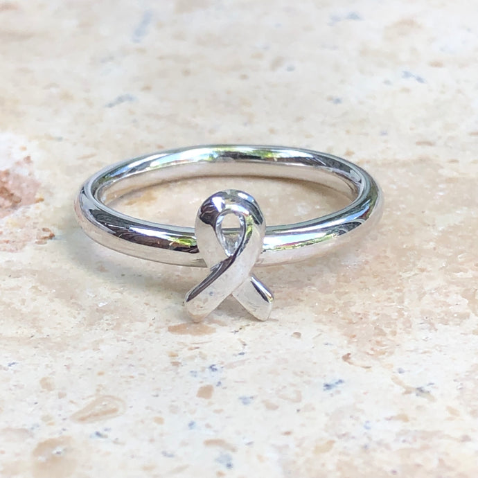 Sterling Silver Breast Cancer Awareness Ribbon Ring, Sterling Silver Breast Cancer Awareness Ribbon Ring - Legacy Saint Jewelry